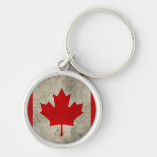Canada Silver-Colored Round Keychain