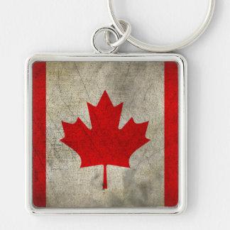 Canada Silver-Colored Square Keychain