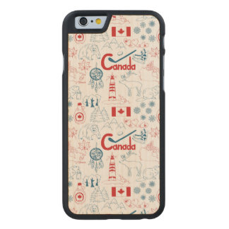 Canada | Symbols Pattern Carved Maple iPhone 6 Case
