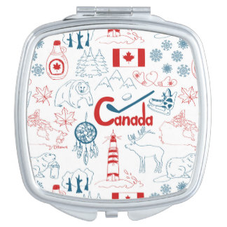 Canada | Symbols Pattern Compact Mirrors