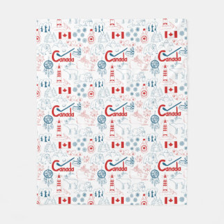 Canada   Symbols Pattern Fleece Blanket