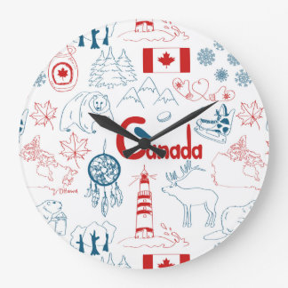 Canada | Symbols Pattern Large Clock
