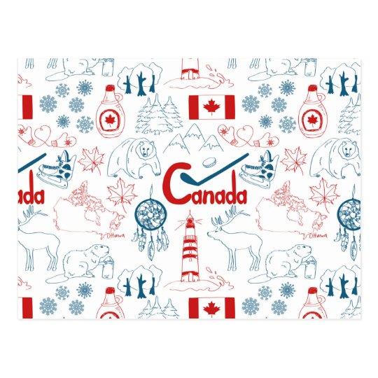 Canada | Symbols Pattern Postcard | Zazzle.ca