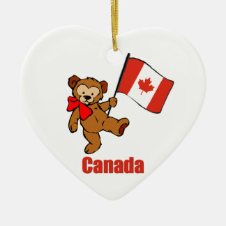 Canada Teddy Bear Ceramic Ornament