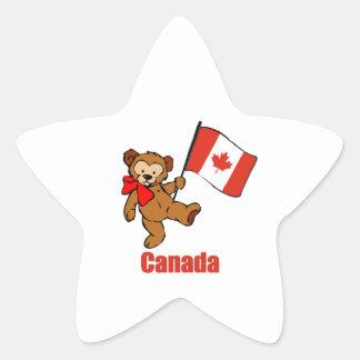 Canada Teddy Bear Star Stickers