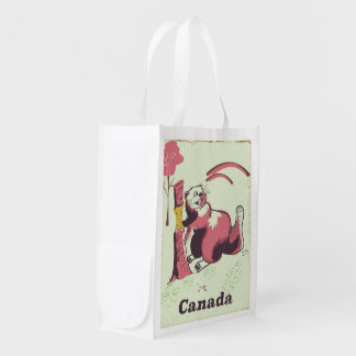 Canada vintage beaver travel poster reusable grocery bag