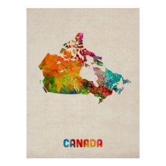 Canada Watercolor Map Poster