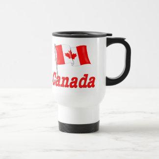 Canada Waving Flag 15 Oz Stainless Steel Travel Mug