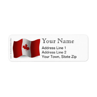 Canada Waving Flag Return Address Label