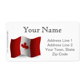 Canada Waving Flag Shipping Label