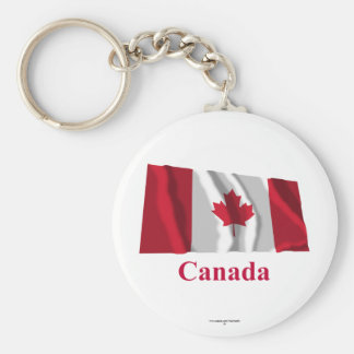 Canada Waving Flag with Name Basic Round Button Keychain