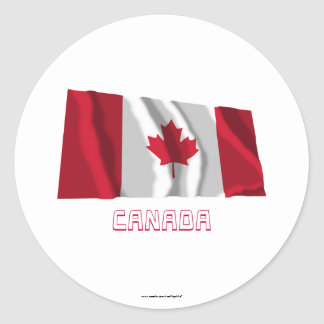 Canada Waving Flag with Name Round Stickers