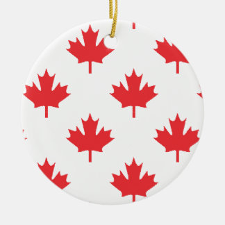 Canada White With Red Maple Leaf Ceramic Ornament