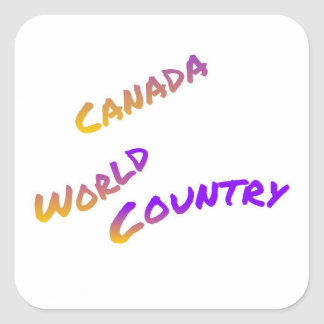 Canada world country, colorful text art square sticker