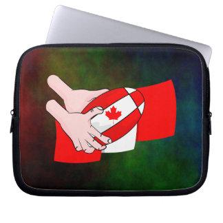 Canadain Flag Maple leaf Rugby Ball Computer Sleeve