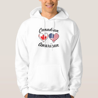 Canadian American Flag Hearts Hoodie