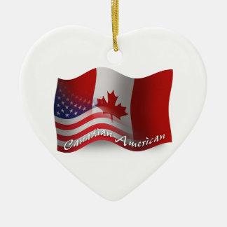 Canadian-American Waving Flag Ceramic Heart Ornament