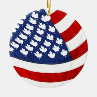 Canadian / American Waving Flag Ceramic Ornament