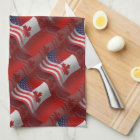 Canadian-American Waving Flag Kitchen Towel
