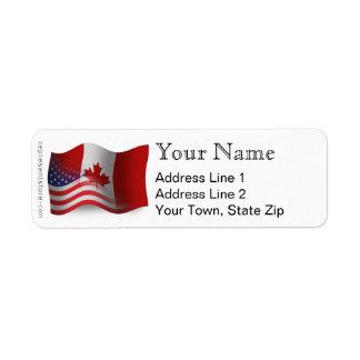 Canadian-American Waving Flag Return Address Labels