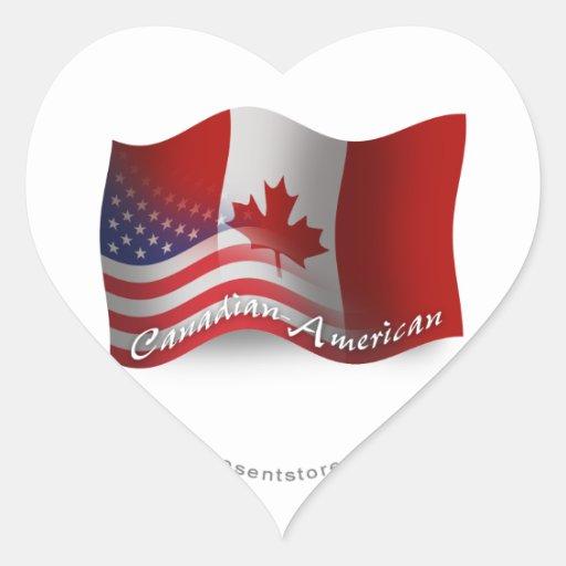 Canadian-American Waving Flag Sticker
