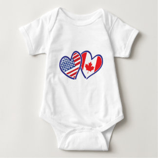 Canadian and America Flag Hearts Baby Bodysuit