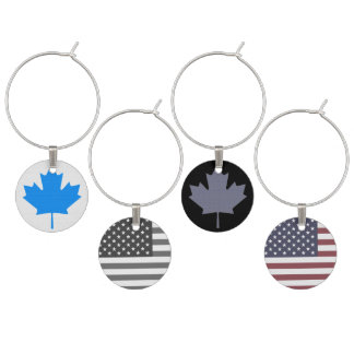 Canadian and US Symbols Wine Charms