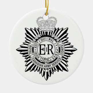Canadian Army Service Corp Badge Black & White Ceramic Ornament