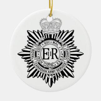 Canadian Army Service Corp Badge Black & White Round Ceramic Ornament