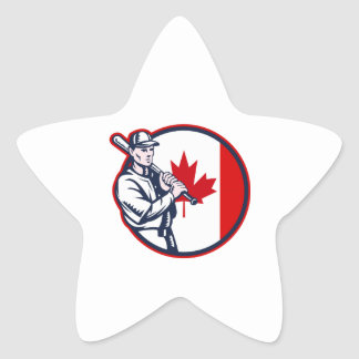 Canadian Baseball Batter Canada Flag Circle Star Sticker