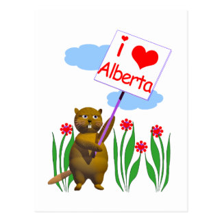 Canadian Beaver Loves Alberta Postcard