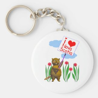 Canadian Beaver Loves Nova Scotia Basic Round Button Keychain