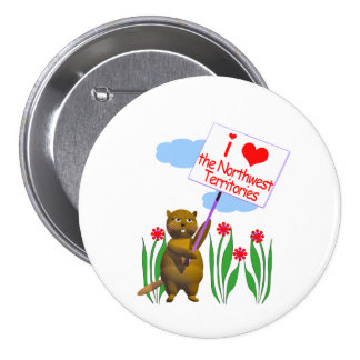 Canadian Beaver Loves the Northwest Territories 3 Inch Round Button