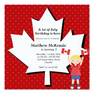 "Canadian Birthday boy 5.25"" Square Invitation Card"