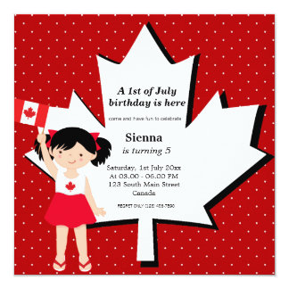 "Canadian birthday girl 5.25"" square invitation card"