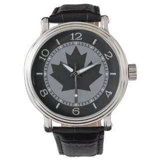 Canadian Black Maple Leaf Design Wristwatch