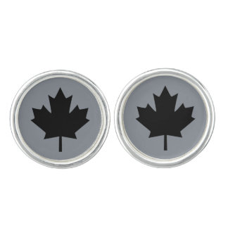 Canadian Black Maple Leaf Graphic Cuff Links