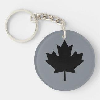 Canadian Black Maple Leaf Symbol Keychain