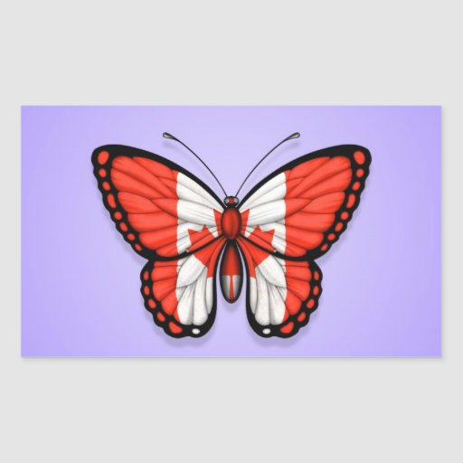 Canadian Butterfly Flag on Purple Rectangular Stickers