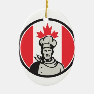 Canadian Chef Baker Canada Flag Icon Ceramic Ornament