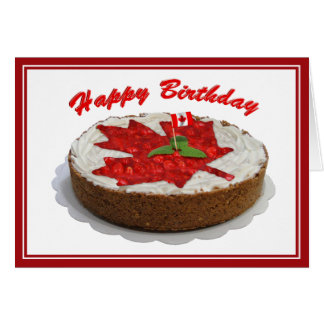 Canadian Cherry Maple Leaf Cake Greeting Card