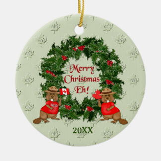 Canadian Christmas Ceramic Ornament