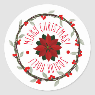 Canadian Christmas Poinsettia and Wreath Classic Round Sticker