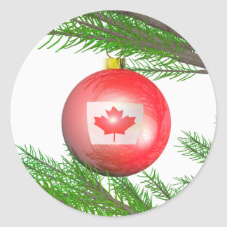 Canadian Christmas Tree Decoration Round Sticker