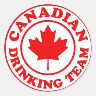 Canadian Drinking Team Round Sticker