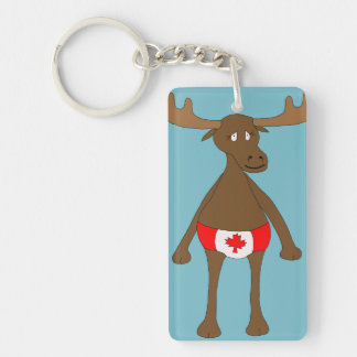 Canadian, Eh? Moose Double-Sided Rectangular Acrylic Keychain