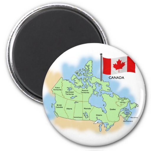 Canadian Flag and Map Refrigerator Magnets