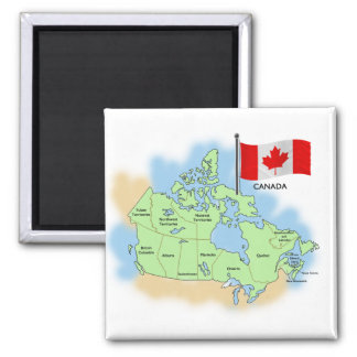 Canadian Flag and Map Magnet