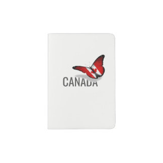CANADIAN FLAG & BUTTERFLY PASSPORT HOLDER