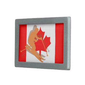 Canadian Flag Canada Ski Skiing Rectangular Belt Buckle